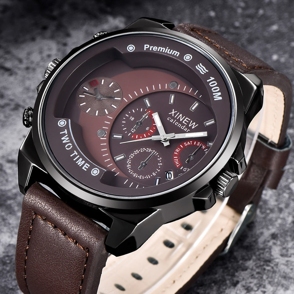 Men's Waterproof Military Leather Watch