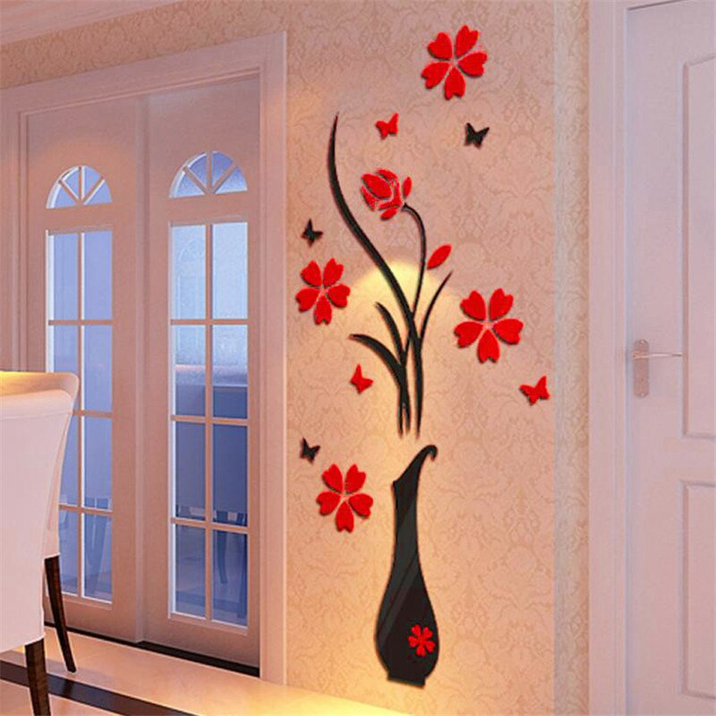 Vase Flower Tree 3D Wall Stickers