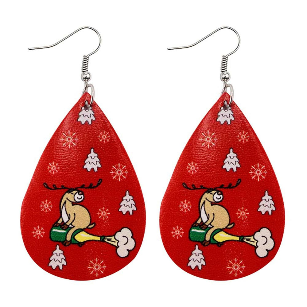 Christmas Women Faux Leather Teardrop Earrings