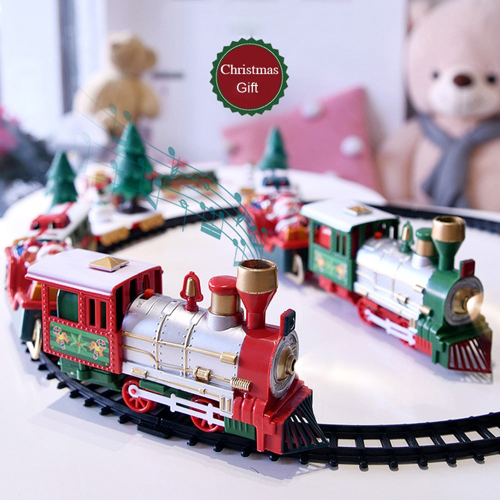 Lights and Sounds Christmas Train Set Railroad Rails Toys