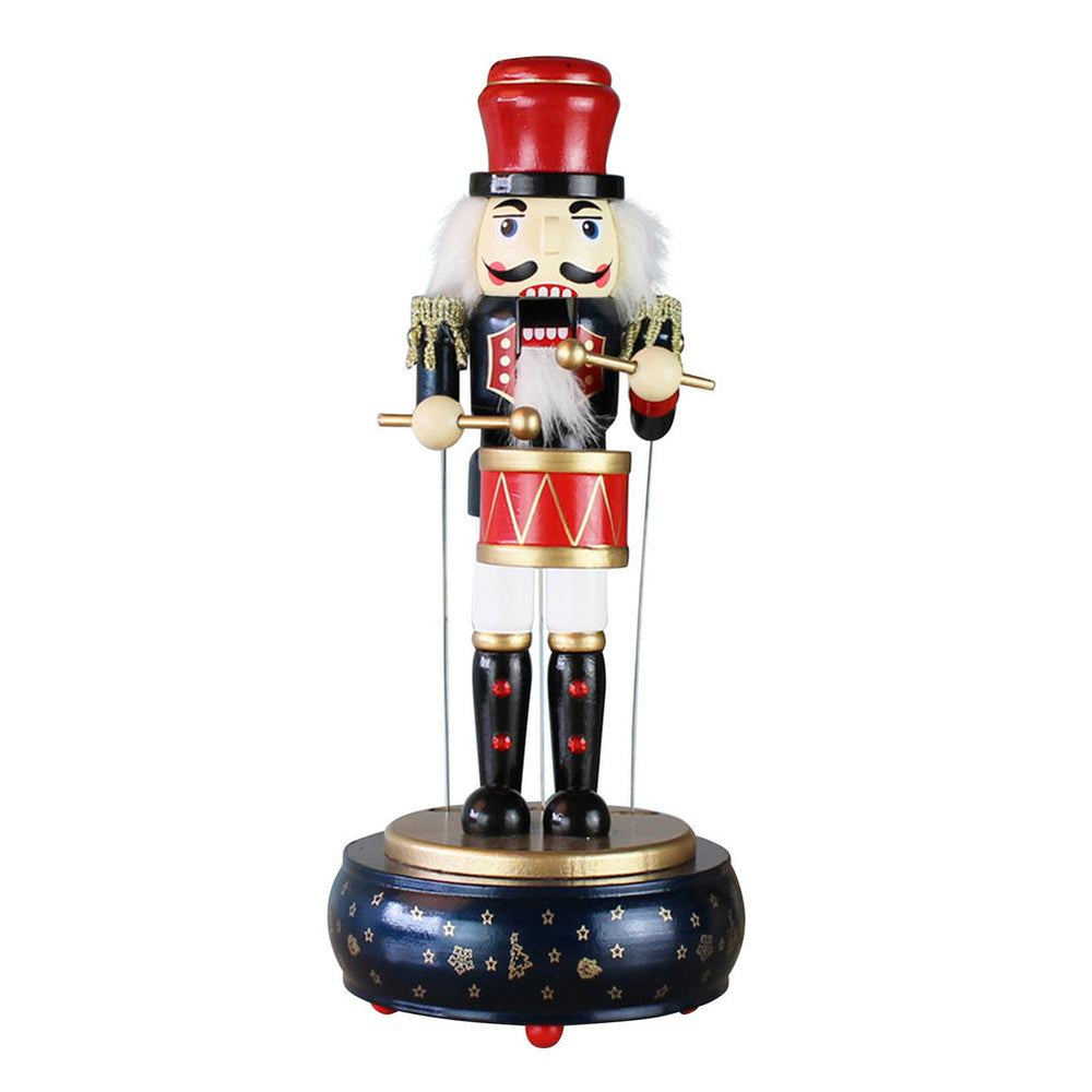 Movable Round Wooden Christmas Music Box Nutcracker Drummer