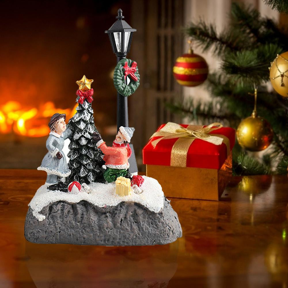 Christmas Glowing Village Resin Ornament Decoration