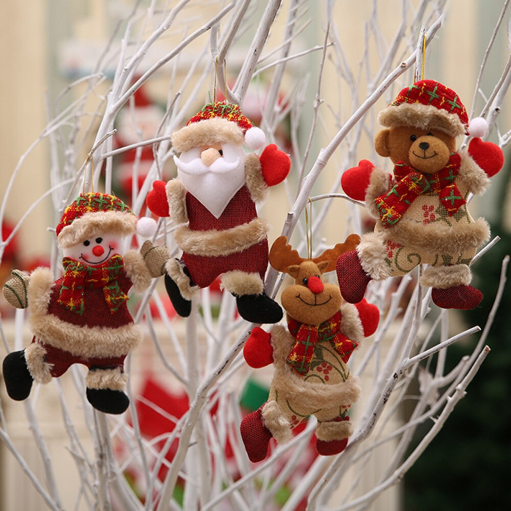 Christmas Santa Claus Elk Reindeer Toy Doll Hang Decorations