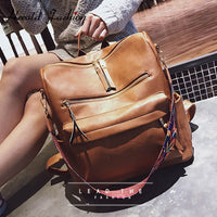 Retro Large Leather Backpack