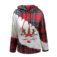 Hoodie Women Christmas Letters Printed Plaid Stitching