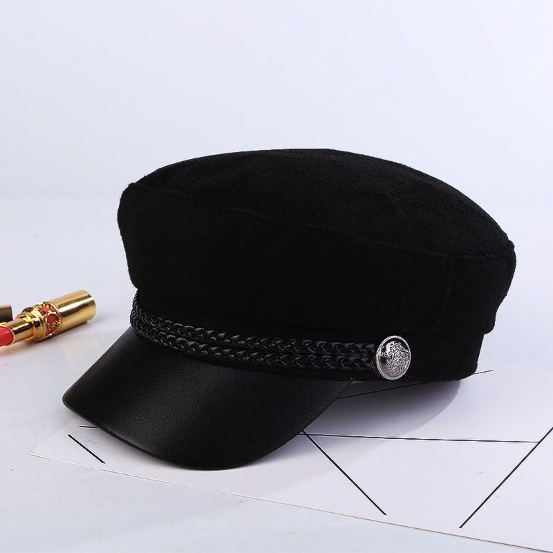 Black Military Octagonal Casual Hat