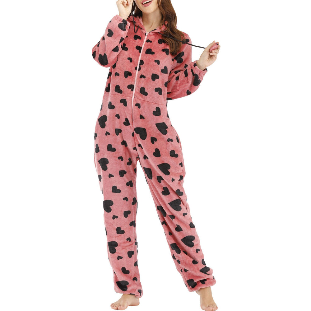 Christmas Autumn Winter Flannel Fleece Warm Jumpsuit