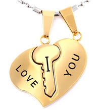Heart Key Couple Necklace