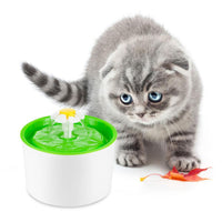 Automatic Flower Water Drinking Fountain with Bowl Dish for Dog and Cat