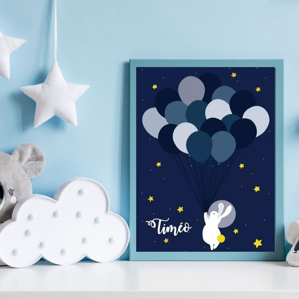 Affiche lapin astronaute personnalisable - kidyhome