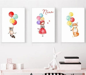 Affiche animaux et ballons - kidyhome