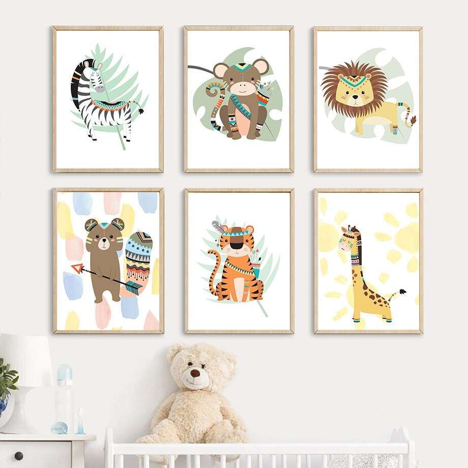 affiches animaux boho feuilles - kidyhome