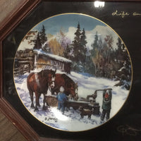 "1/2 Framed Georgia Jarvis - *The Hay Sleigh Kids"" & ""The Waterpump Kids"" *signed, chips, dirty"
