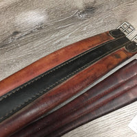 Thick Padded Leather Girth, 1x els *gc, stains, dirt, rusty buckles, older