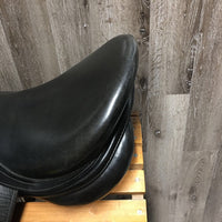 "Measures 18"" Stamped 17 MW *measures 5.5 Prestige Dressage Saddle Shiney Black Cover, Lg Front Blocks, Foam Flocked, Flaps 16.75"" L Serial #: 17 33 355 061"
