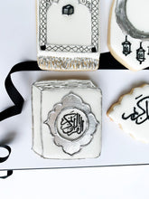 Load image into Gallery viewer, Ramadan gift cookie set- Ramadan kareem, Quran book, a prayer mat and a moon with lantern