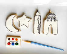 Load image into Gallery viewer, PYO islamic cookies , kids craft, ready to paint, two mosque one moon and one star cookies. Paint your own cookies
