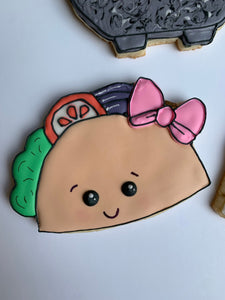 Taco Cookies - Taco party sugar cookies - fun mexican themed party favor gift set cookies