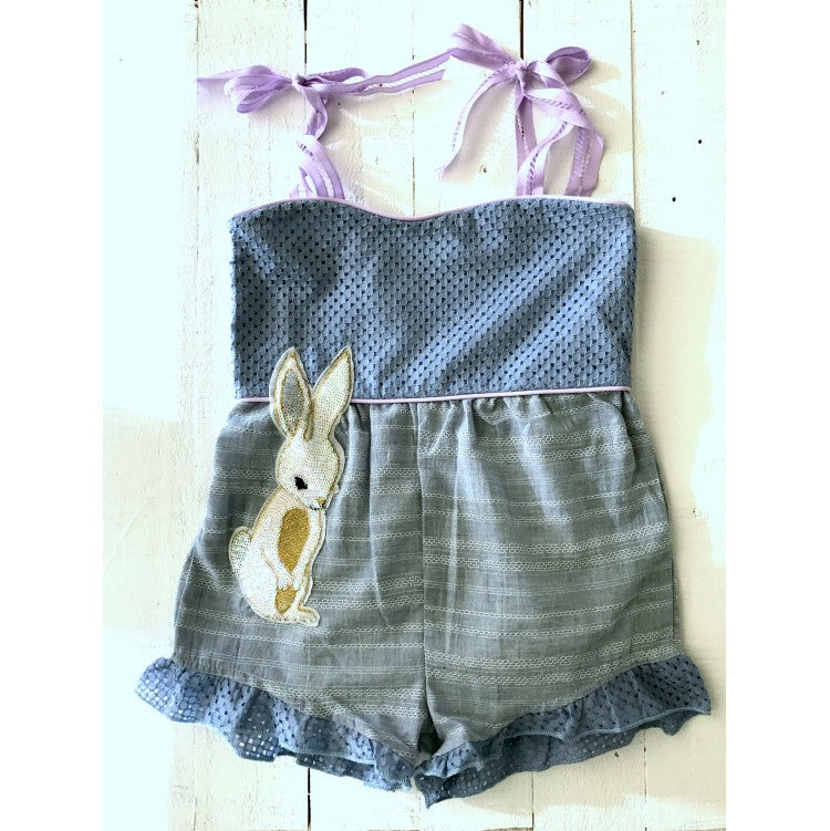 BUNNY EASTER SIDES RUFFLED ROMPER (Blue)