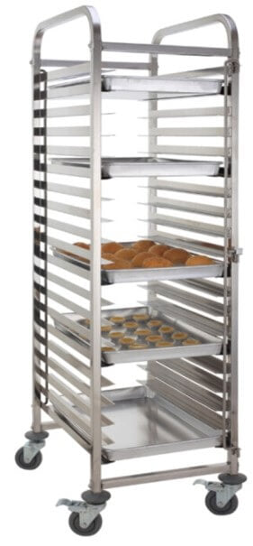 16 TIER BAKING TRAY-STAINLESS STEEL TROLLEY - cater-care