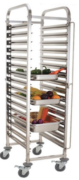 15  TIER GASTRONORM TRAY-STAINLESS STEEL TROLLEY - cater-care