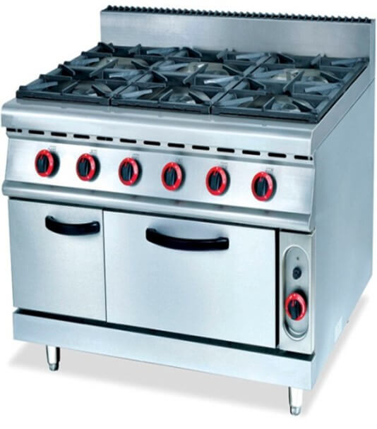 900 RANGE - 6 BURNER C/W GAS OVEN - cater-care