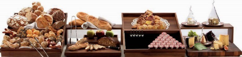 DISPLAY WOODEN SET FOR PASTRY  BREAD  JAM & CHEESE - cater-care