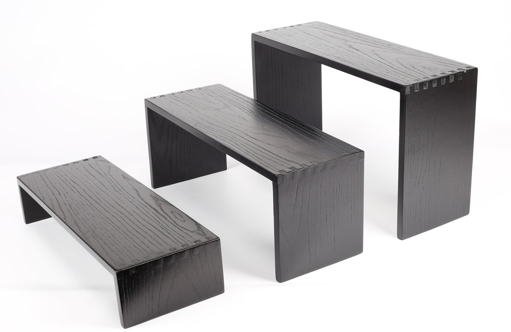 WOODEN SET OF 3 STACKED SQUARE DISPLAYS (BLACK) - cater-care