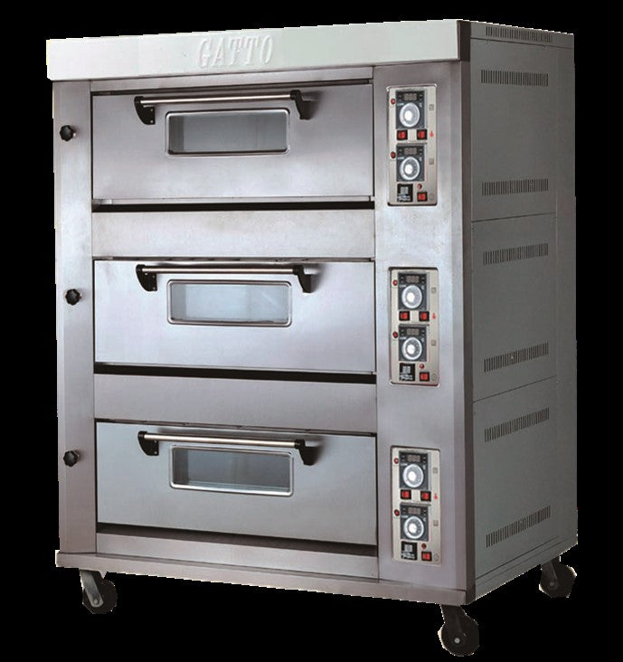 TRIPLE DECK GAS OVEN - 6 TRAYS - cater-care