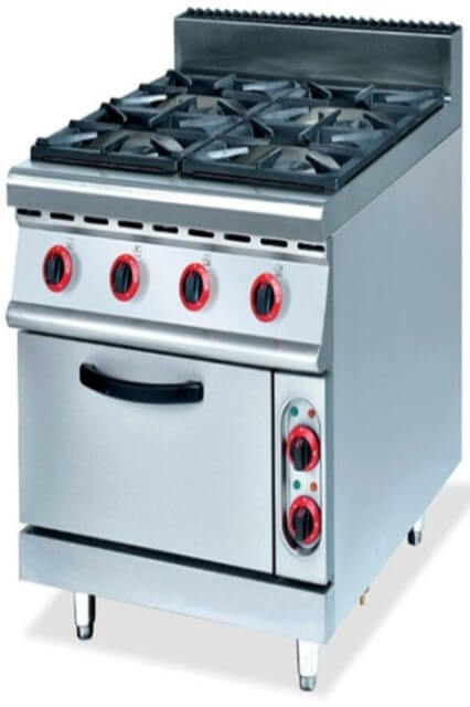 900 RANGE - 4 BURNER C/W GAS OVEN - cater-care