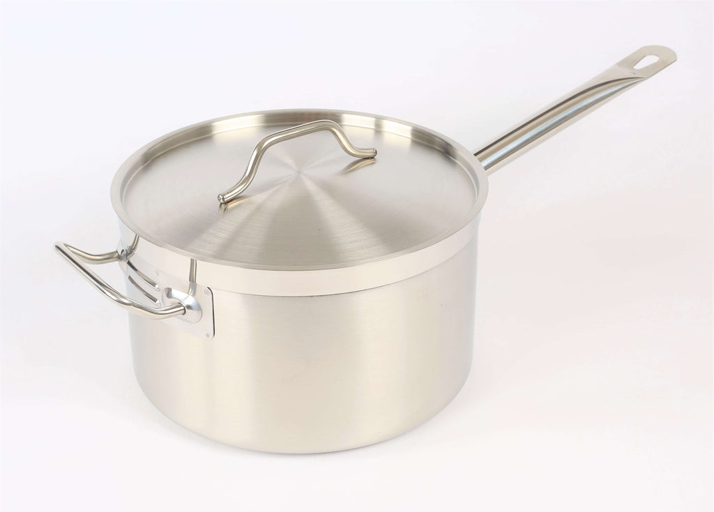 POT S/STEEL SAUCE PAN WITH HANDLE & LID 260MM - cater-care