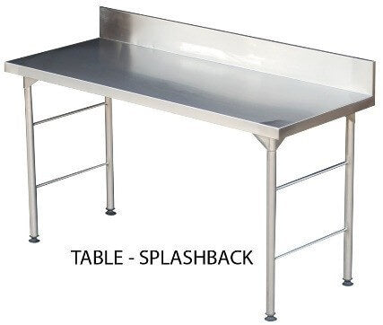 S/Steel 1650mm Table with Splashback 0.7mm Grade 430 - cater-care