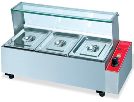 TABLE MODEL BAIN MARIE C/W SNEEZEGUARD - INCLUDES 3 X 1/2 INSERTS+LIDS - cater-care