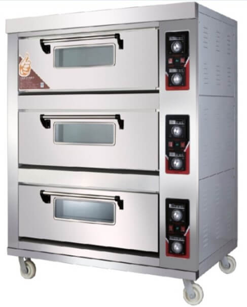 TRIPLE DECK 6 TRAY PIZZA OVEN WITH CERAMIC FLOORS- EXCLUDES TRAYS - cater-care