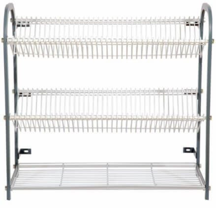 CROCKERY RACK 800 WALL MOUNT 3 TIER 76 PLATES + CUP RACK - cater-care