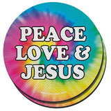 """Peace Love & Jesus"" Unisex Coaster by Kerusso"
