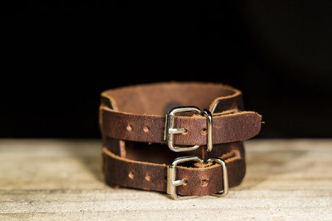 Double Strap Leather Bracelet