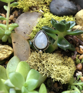 Rainbow Moonstone Ring sz 5.25