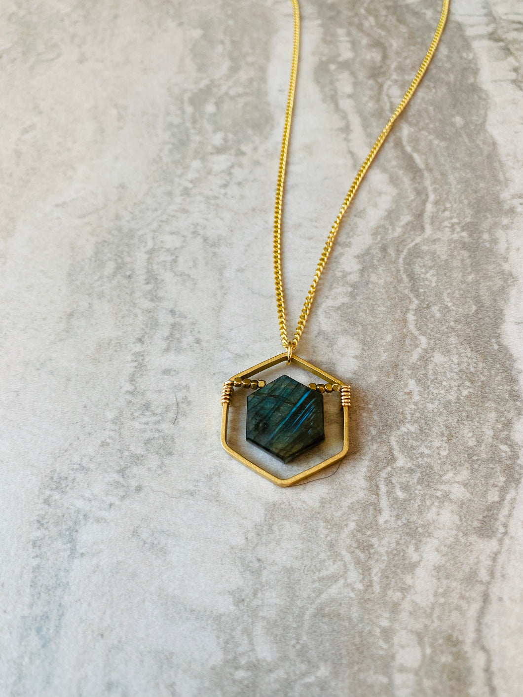 Labradorite Hexagon