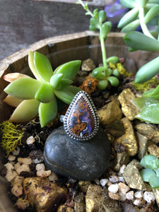 Boulder Opal Statement ring with patterned band sz 7.5