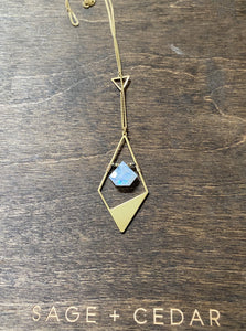 Rainbow Moonstone Brass Diamond
