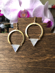 Semi Circle Moonstone Earrings