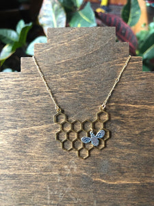 Honeybee Necklace (antique silver bee)