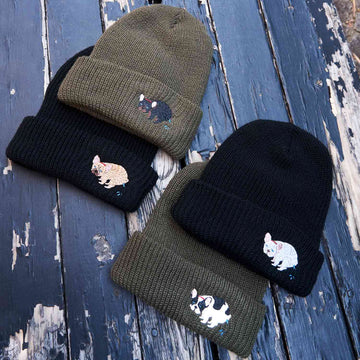 F/B POOPING KNIT CAP【FRENCH BULLDOG LIFE × PEGION】