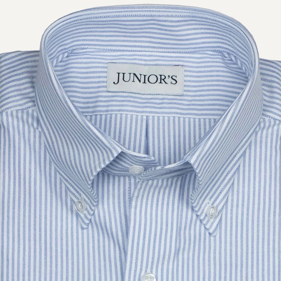 Blue & White University Stripe Oxford Cloth Button-Down - Made-to-Order Dress Shirt
