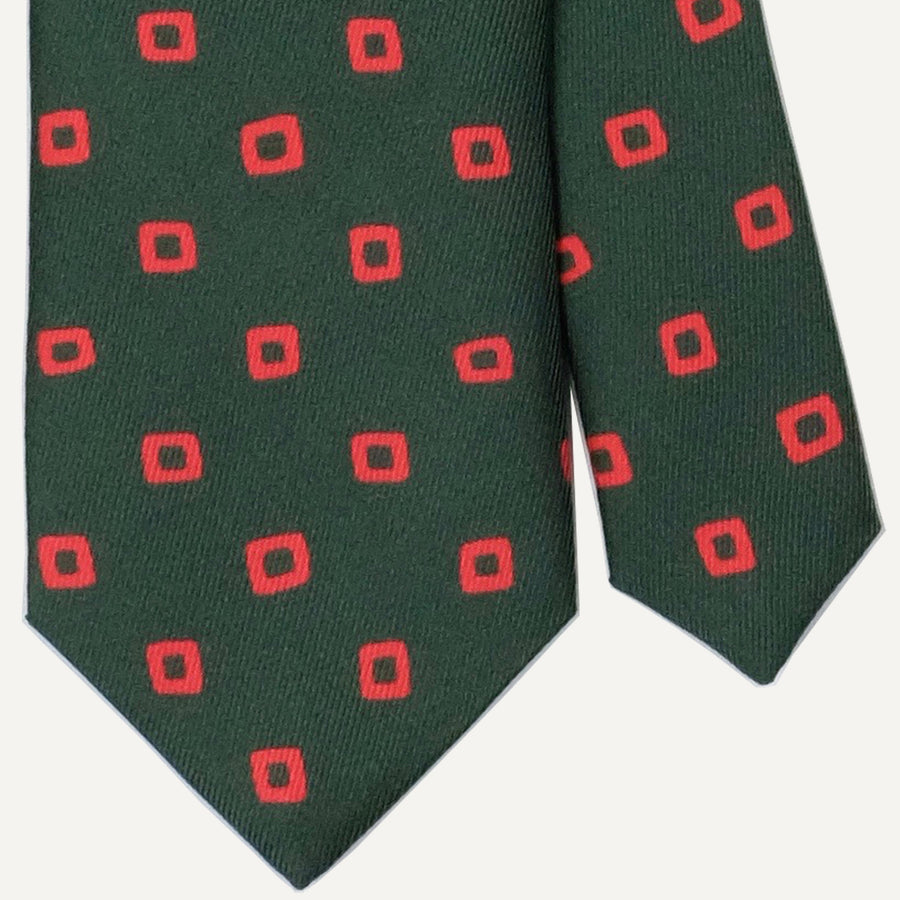 Green with Orange Mod Block Tie