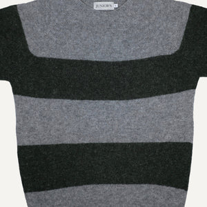 Spruce & Grey Striped Scottish Shetland Crewneck Sweater