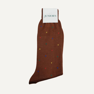 Walnut with Dots Mid-Calf Sock