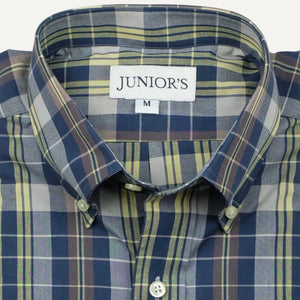 Blue & Yellow India Madras Button-Down Sport Shirt