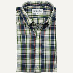 Blue & White India Madras Button-Down Sport Shirt